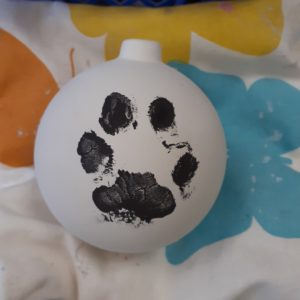 Dog paw print bauble