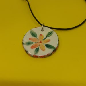orange flower necklace