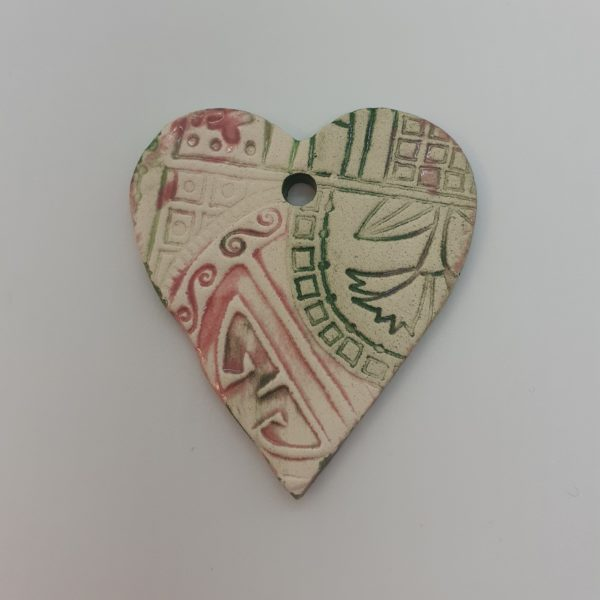 pink and green heart pendant