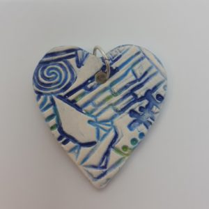 blue heart diffuser necklace